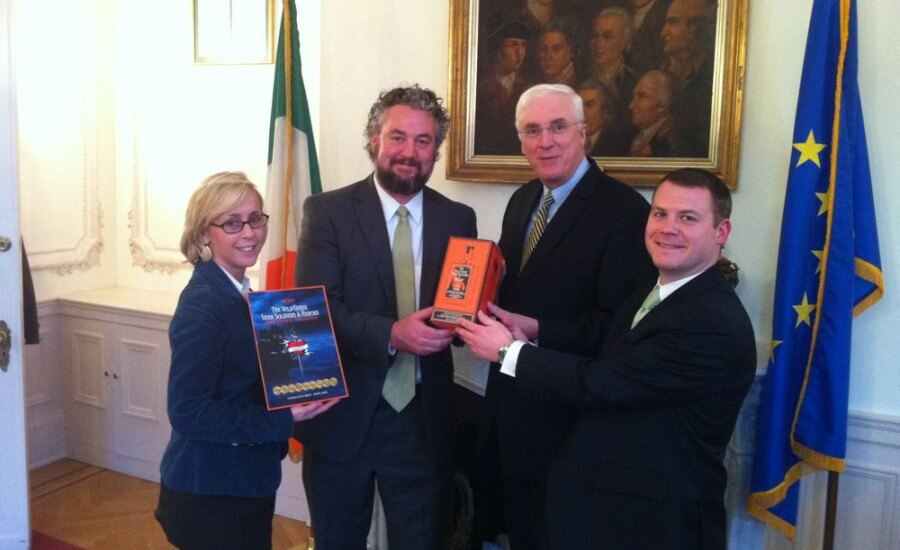 The Wild Geese®  Gather to show Support: Washington D. C. American Ireland Fund Young Leaders Chairperson Ms. Megan Molloy, prize winner Joe Monahan, Ambassador Michael Collins and prize winner Michael Brennan